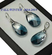 925 Silver Earrings/Set made with Swarovski Crystals 22mm PEAR Montana Blend