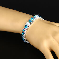 Women Zircon Diamante Sparkling Silver Crystal Bangle Bracelet Jewelry Wedding