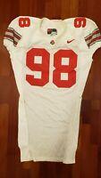 #98 White Game Worn Ohio State Buckeyes Football Jersey - Size 52 - Nike Team
