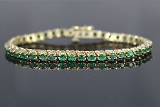 14K Solid Yellow Gold 3.28ct Colombian Green Emerald Tennis Bracelet 6''