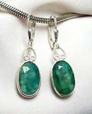 Smaragd Ohrhänger 925 Silber ovale facettierte Edelsteine SONDERPREIS - NEU -