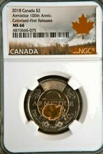 2018 CANADA COLOR POPPY ARMISTICE 100th ANNIV $2 TOONIE FIRST RELEASES NGC MS66