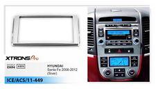 Double Din Car Radio CD Silver Facia Panel Surround Dash for HYUNDAI Santa Fe