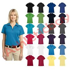 New Port Authority Ladies Tech Pique Polo Polyester Work Shirt Y-Neck UPF 40