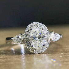Oval Cut 2.00 Ct Loose Moissanite Solid 14k Gold Halo Pear Shape Engagement Ring