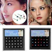 24PCS Surgical Steel Rhinestone Crystal Nose Stud Ring Body Piercing Jewelry