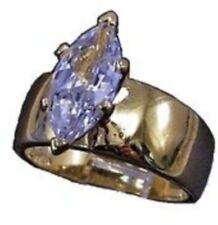 bague solitaire femme CZ diamant navette plaqué or 18k rodié T.61