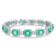 Luxulry Jewelry Sets 18kt Two Tone Gold Natural Diamond Green Emerald Bracelets