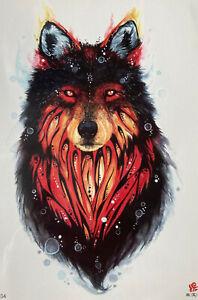 Temporary Tattoo Animal Wolf Body Art Fake Waterproof 21cm x 15cm