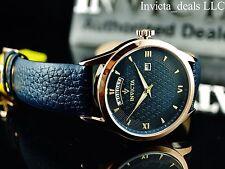 Invicta Men's 40mm Vintage Japanese Quartz Navy Blue Dial Leather Strap Watch