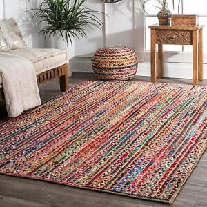 Multi Color Bohemian Braided Area Reversible Cotton Chindi Hand Woven Rug Carpet