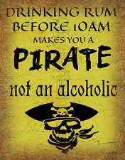 Drinking Rum Pirate LARGE METAL TIN SIGN POSTER RETRO WALL PLAQUE VINTAGE