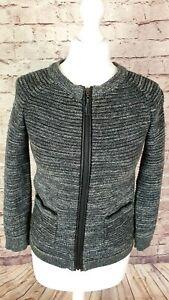 Laura Ashley Ladies Zip Up Jacket Cardigan, Black White Marl, Size 8