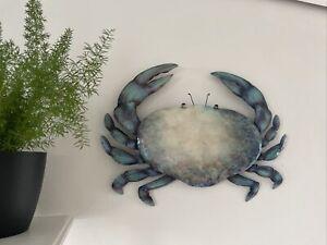 Turquoise Tin Crab Metal Wall Art