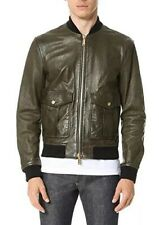 $1850 NEW AUTHENTIC DSQUARED2 OLIVE GREEN LEATHER BOMBER JACKET XL L