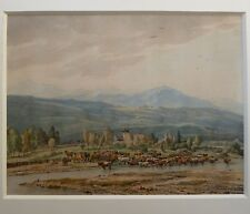 Dessin aquarelle paysage de montagne 1800 école Suisse suiv. von Kobell + cadre