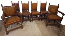 Antique Set Of 6 SIX High Back  Refectory Leather  Chairs
