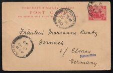 MALAYA - KAPAR / 1912 POSTAL STATIONERY CARD TO GERMANY (6744)