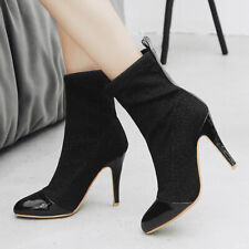 Women's Boots Pointed Toe Glitter Stiletto High Heel Ankle Booties Shoes US 6