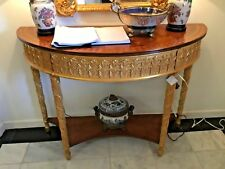 French Style Demilune Console w/ Gold Leaf Accents