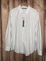 Perry Ellis Men's Striped Button Up Shirt White Blue Gray SZ XL Long Sleeve Top