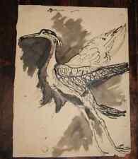 Dessin YVONNE GIRAUD-HANRIOT (1898-1960) lavis encre oiseau échassier env 1930 4