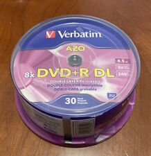 Verbatim AZO 8x DVD+R 8x DL Double layer Recordable 30 Pack 8.5GB Disc's #96542