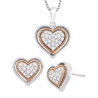 1/5 ct Diamond Heart Earring & Pendant Set in Sterling Silver & 14K Rose Gold