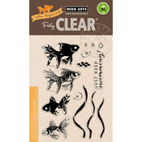 Layering Goldfish Clear Acrylic Fish Stamp Set by Hero Arts CL945 NEW!