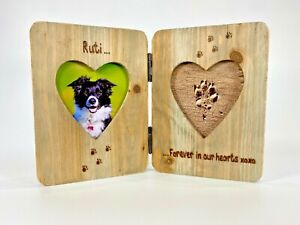 Dog / Cat Memorial   In Memory   Personalised Heart Shaped Double Photo Frame