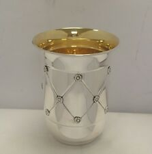 Solid Silver Sterling 925 Kiddush Cup Wine Goblet Becher Judaica Shabbat