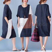 UK 10-24 ZANZEA Women Casual Crewneck Loose Baggy Tunic Midi Dress Kaftan Plus