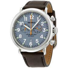 Shinola The Runwell Chrono Slate Blue Dial Deep  Leather Mens Watch 11000167