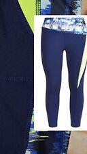 NAVY BLUE and NEON GREEN Active Full Length Leggings - Running, Yoga UK 16 - 18