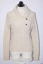 Ralph Lauren RUGBY Lambswool Alpaca Bulky Handknit Natural V-Neck Sweater S