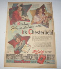 Old Vintage 1943 - CHESTERFIELD Cigarettes - Poster-Size Advertisement