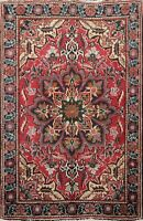 4'x5' Vintage Geometric Hand-knotted Heriz Area Rug Wool Oriental Foyer Carpet