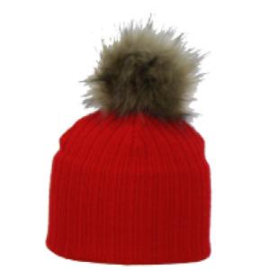 Swedish Designer SATILA baby girls Pom Pom Winter hat Red/Pink/White Nora