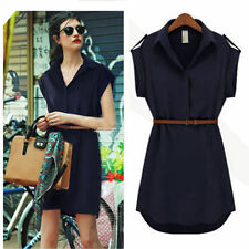 Summer Solid Shirt Dresses for Women