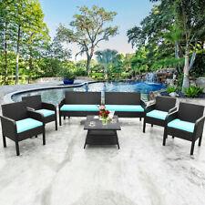 8 PCS Patio Furniture Outdoor PE Rattan Wicker Table Chair Sofa Cushion Seat