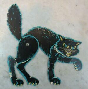 """Vintage Beistle ? JAPAN  10"""" wide Halloween BLACK CAT FIERCE JOINTED"""