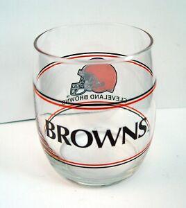 VINTAGE CLEVELAND BROWN'S 1980's NFL LIBBEY PROMOTION 12oz GLASS TUMBLER RARE