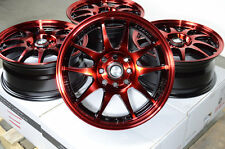 "15"" Red Wheels Rims 4 Lugs Fit Lancer Nissan Altima Cube Sentra Versa Civic CRX"