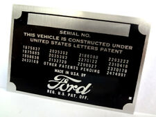 Ford Body Model Trim Number VIN Plate Tag part FoMoCo Motor Company Car Truck
