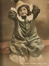 More details for antique birthday greetings postcard girl in pierrot clown costume outfit tinted
