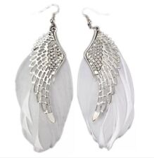 White Feather Drop Earring Angel Wing Silver Toned