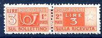 ITALIA 1947 - PACCHI POSTALI   3  Lire   RUOTA  NUOVO **