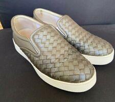 Bottega Veneta Dodger Gold Metal Intrecciato Leather Slip On Sneakers Size 38-39