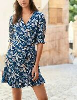 NEXT Navy Blue Floral Print Linen Blend Wrap Dress Size 16 BNWT RRP £34 Holiday