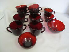 VINTAGE RUBY RED ARCOROC CUPS BOWLS SUGAR CREAMER 12 PCS